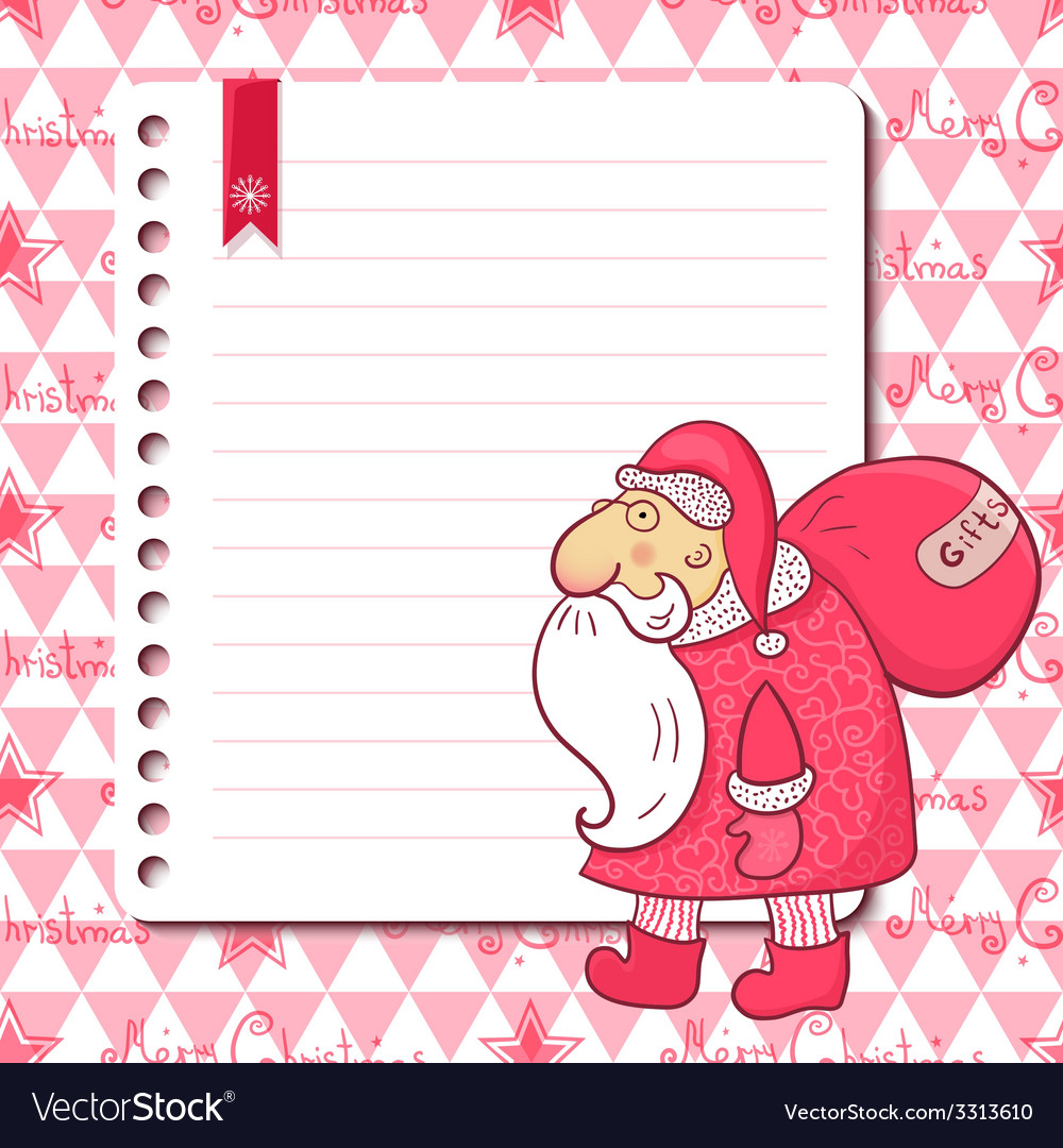 Christmas card with santa claus and place for text vector | Price: 1 Credit (USD $1)