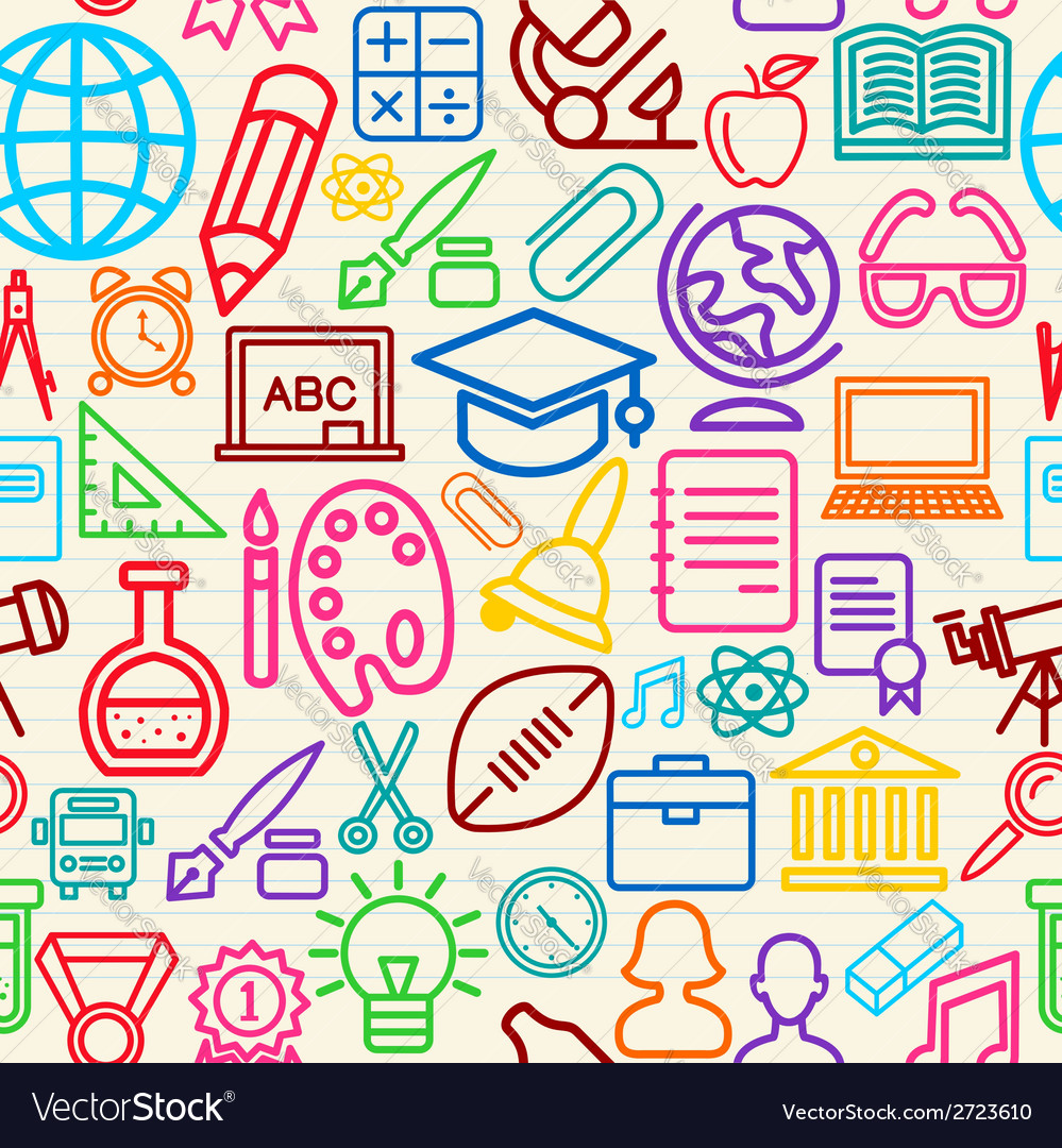 Colorful education seamless pattern background vector | Price: 1 Credit (USD $1)