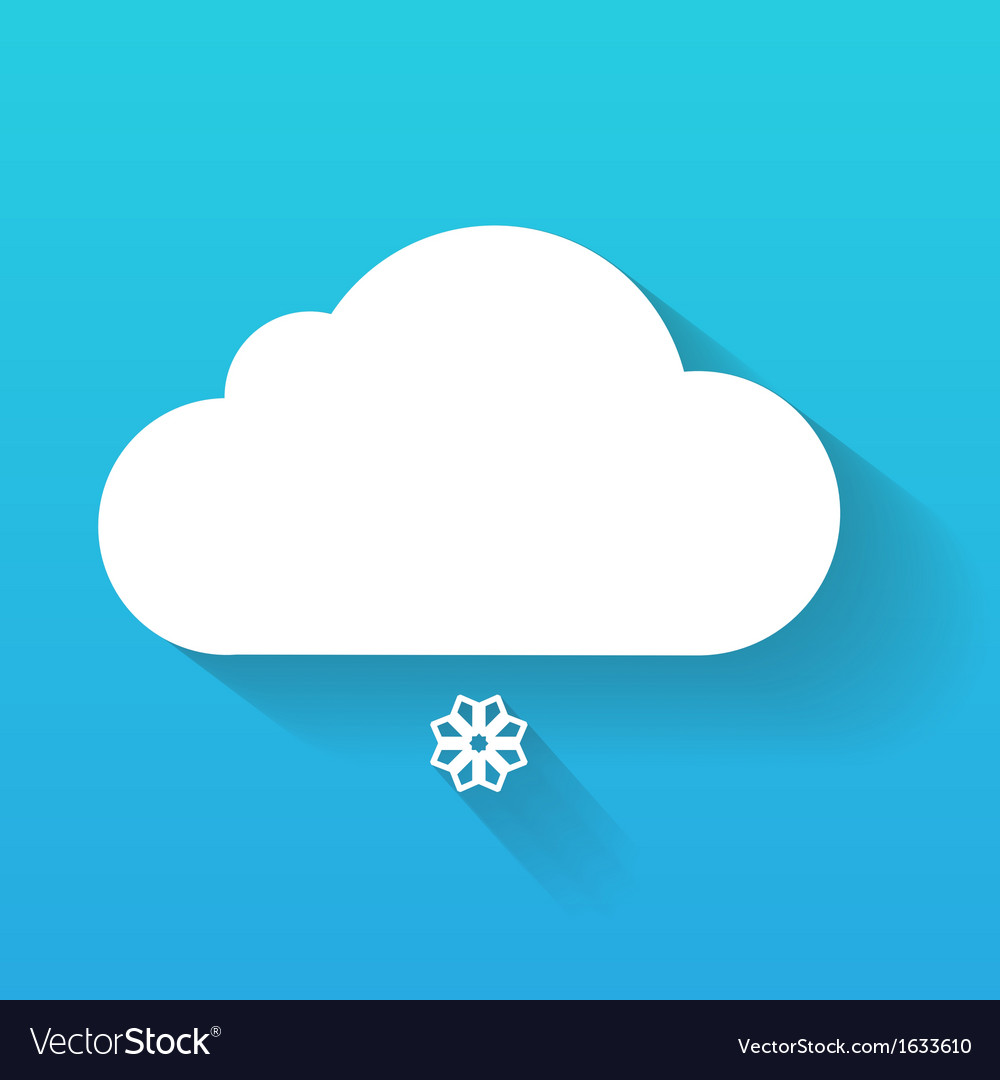 Day cloud and snow flake isolated on blue vector | Price: 1 Credit (USD $1)