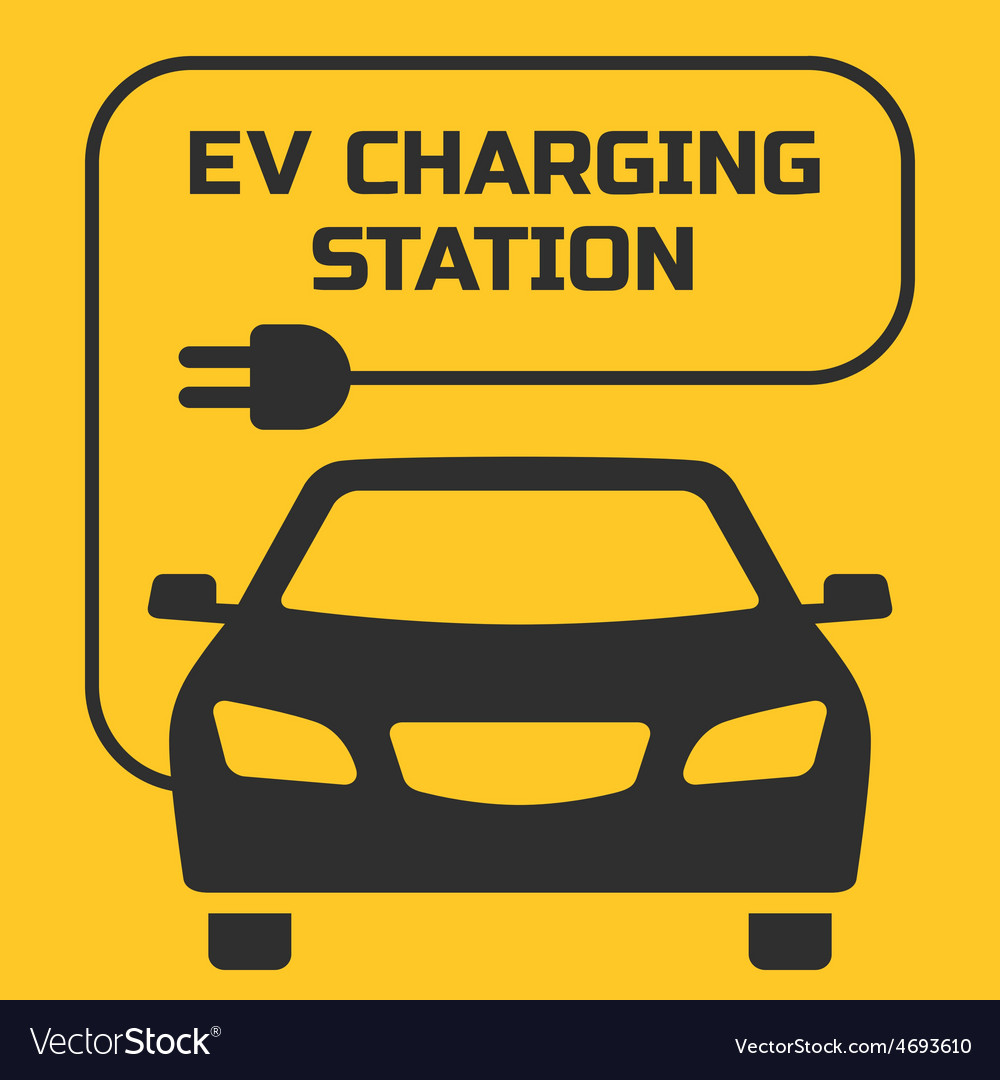 Ev charging station signboard on a yellow backgrou vector | Price: 1 Credit (USD $1)