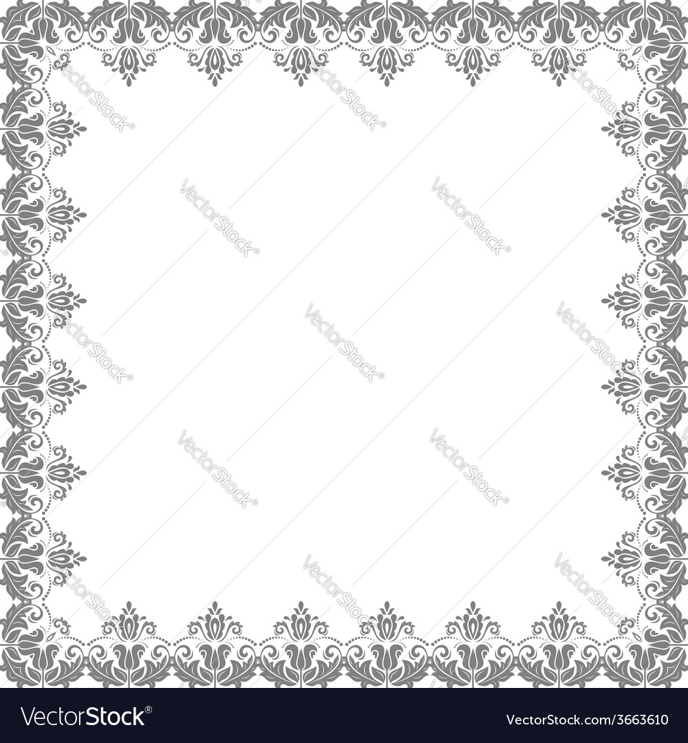 Floral frame abstract silver ornament vector | Price: 1 Credit (USD $1)