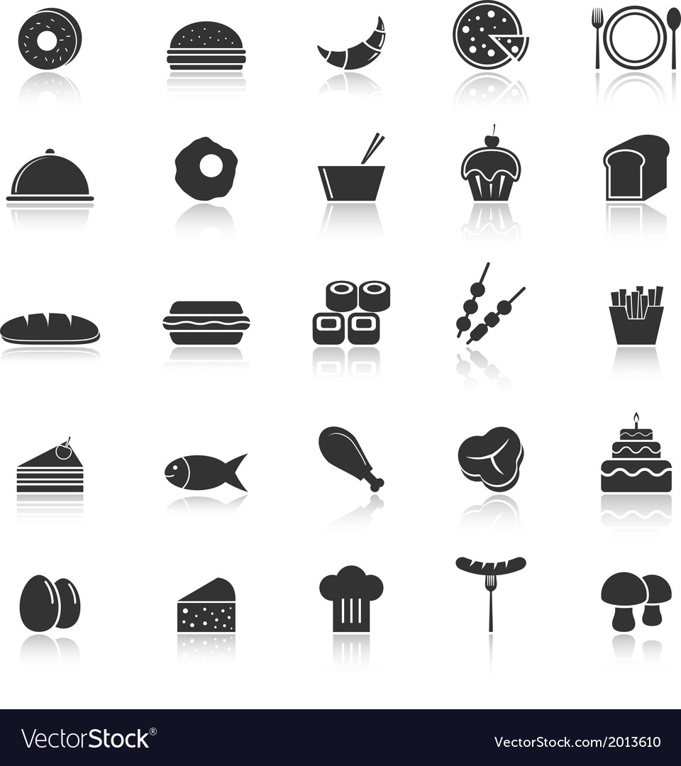 Food icons with reflect on white background vector | Price: 1 Credit (USD $1)