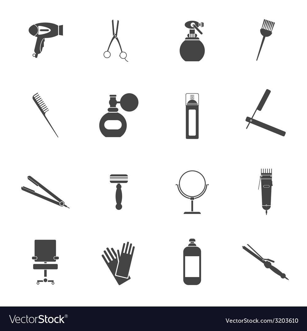 Hairdresser icon set black vector | Price: 1 Credit (USD $1)