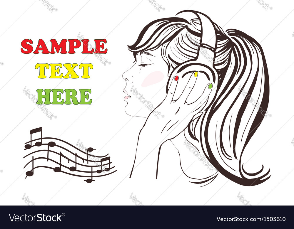 Pretty girl with long hair in headphones vector | Price: 1 Credit (USD $1)