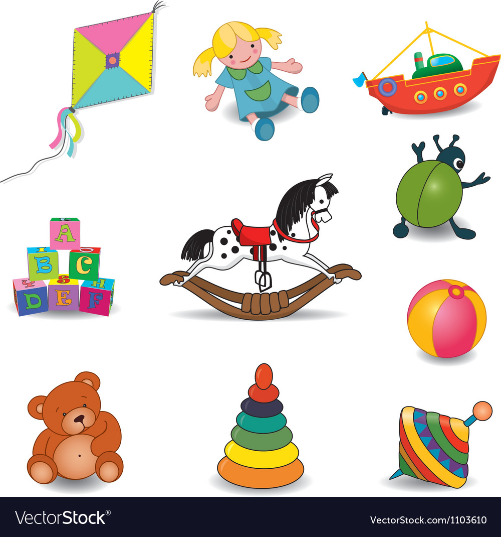 Toys set of eight color vector | Price: 3 Credit (USD $3)