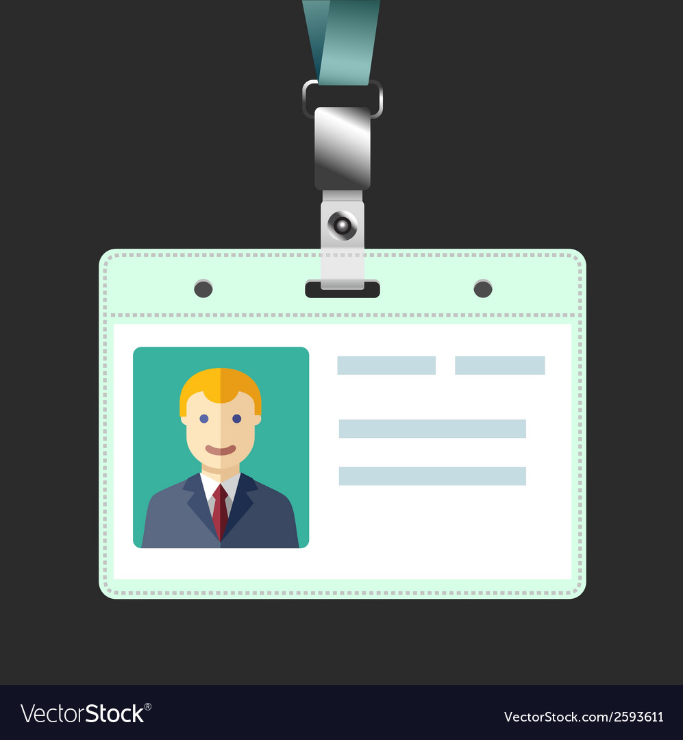 Blank id badge name tag holder with avatar vector | Price: 1 Credit (USD $1)