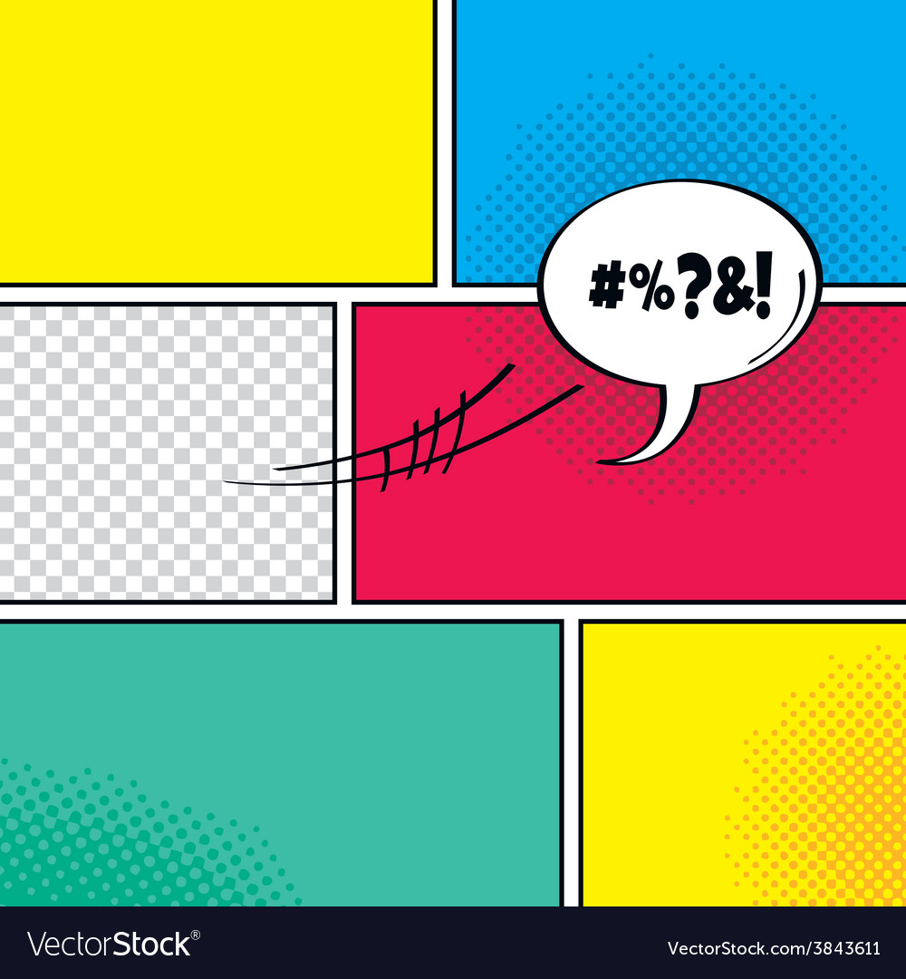 Comic template element with speech bubble halftone vector | Price: 1 Credit (USD $1)