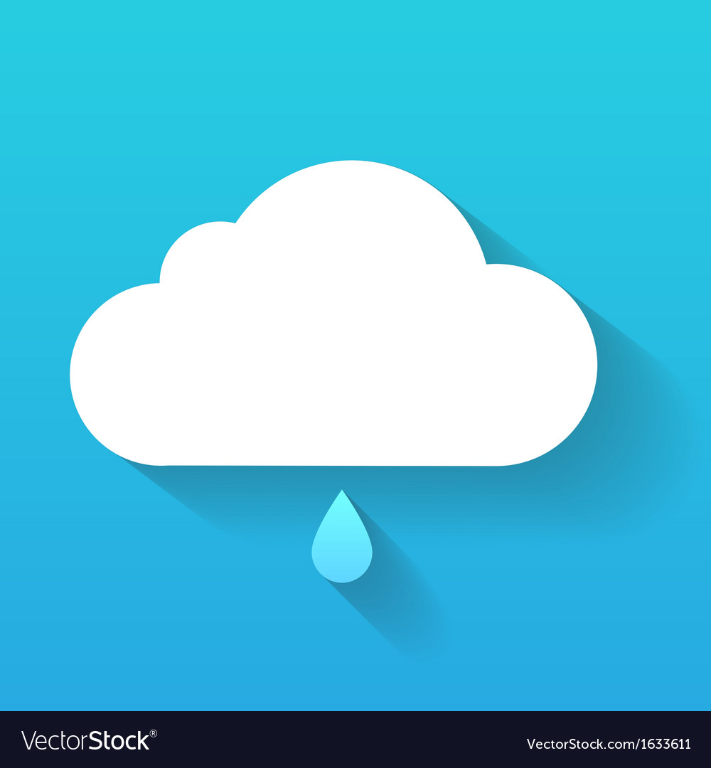 Day cloud and rain drop isolated on blue vector | Price: 1 Credit (USD $1)
