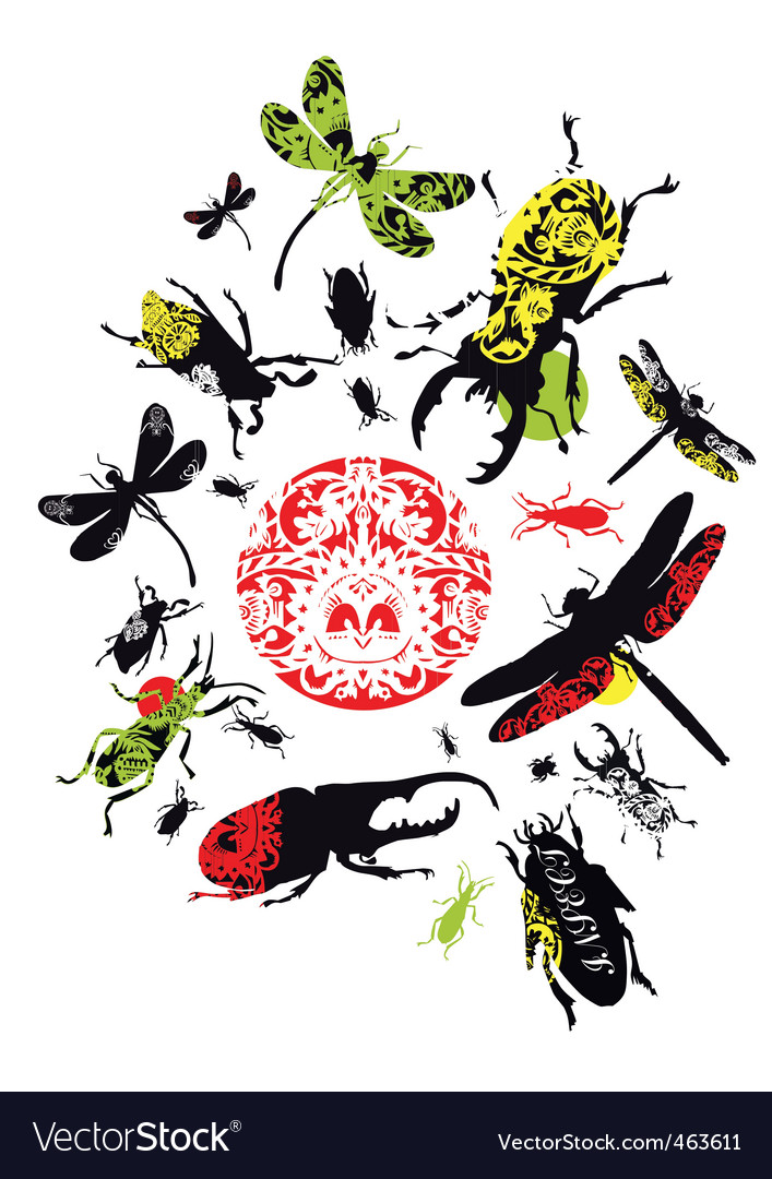 Decorative insects vector | Price: 3 Credit (USD $3)