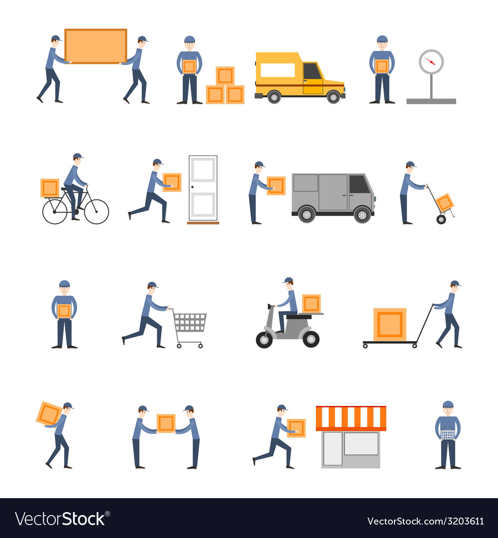 Delivery icons flat set vector | Price: 1 Credit (USD $1)