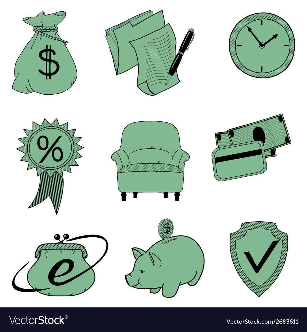 Doodle banking icons vector | Price: 1 Credit (USD $1)