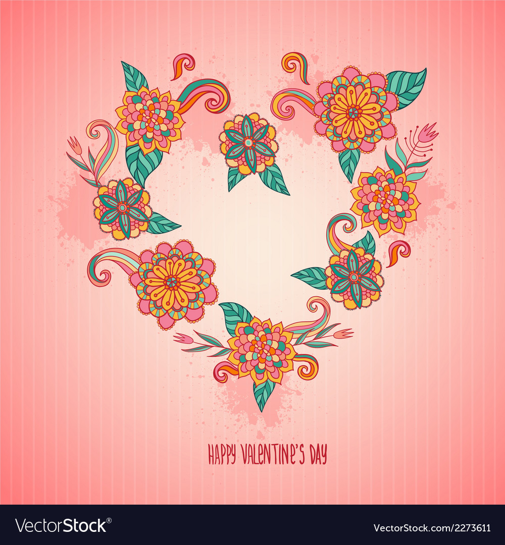 Flower heart for love postcard vector | Price: 1 Credit (USD $1)