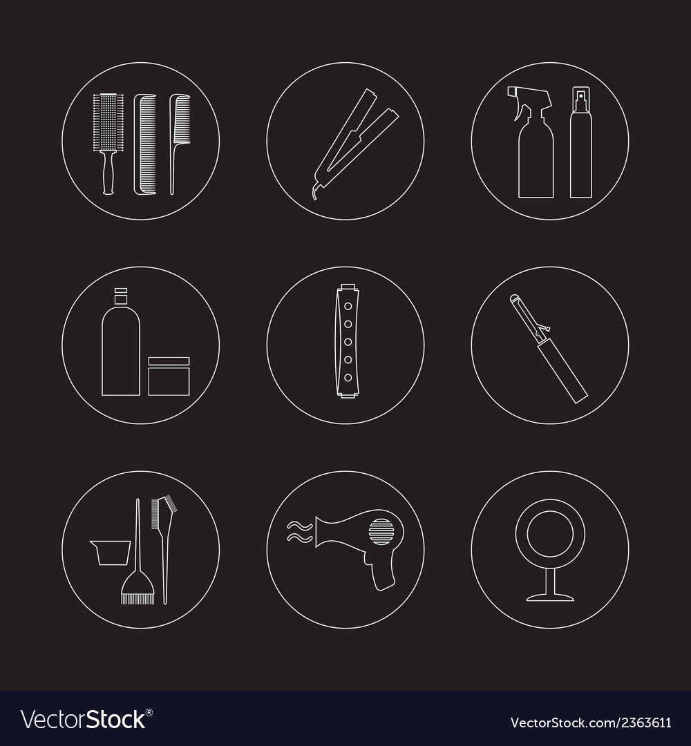 Line design hairdressing icons set 9 vector | Price: 1 Credit (USD $1)