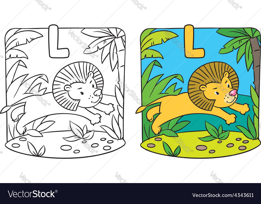 Little lion coloring book alphabet l vector | Price: 1 Credit (USD $1)