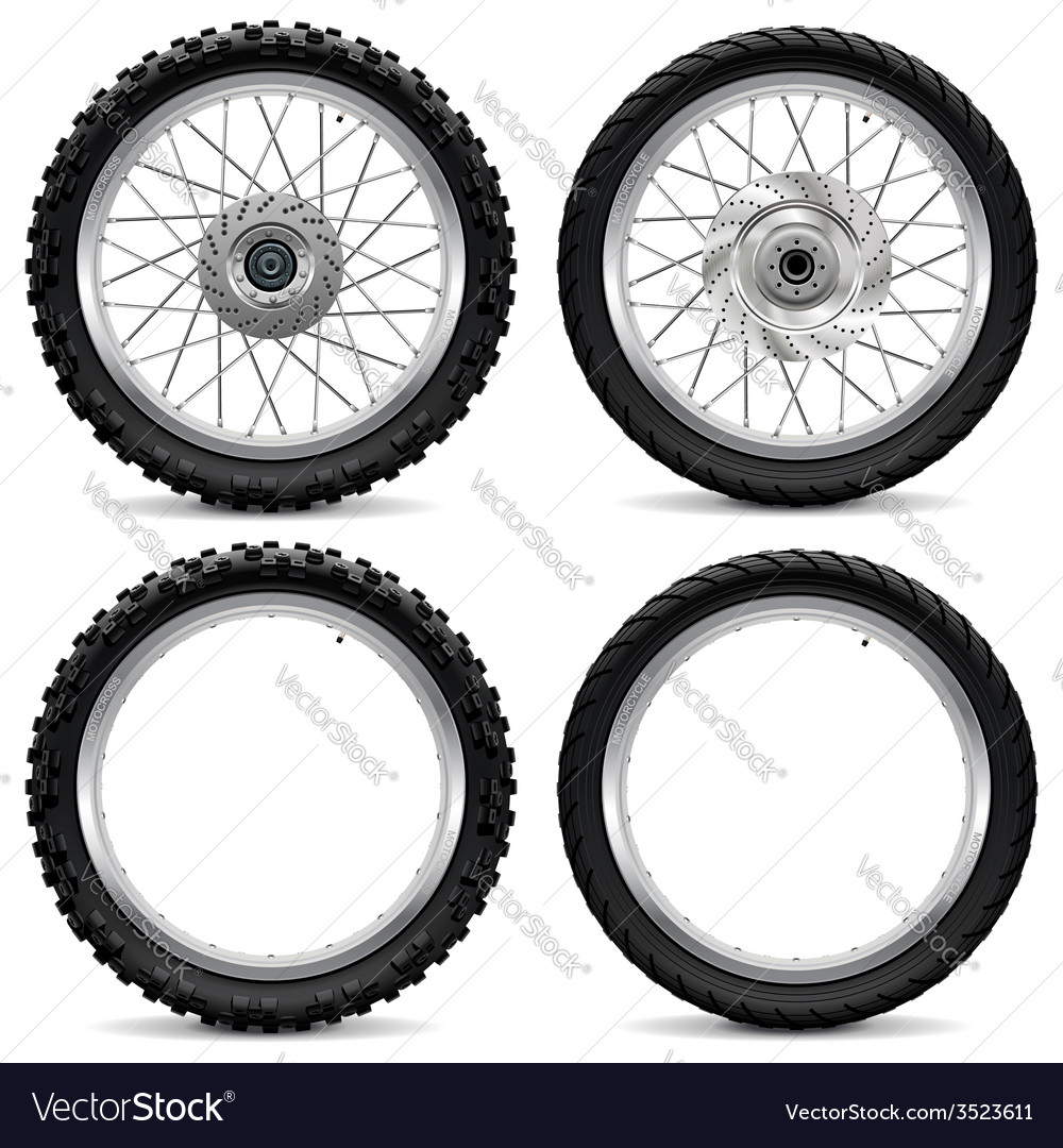 Motorcycle wheel icons vector