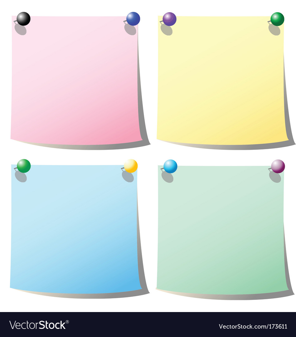 Note paper with holding pin vector | Price: 1 Credit (USD $1)