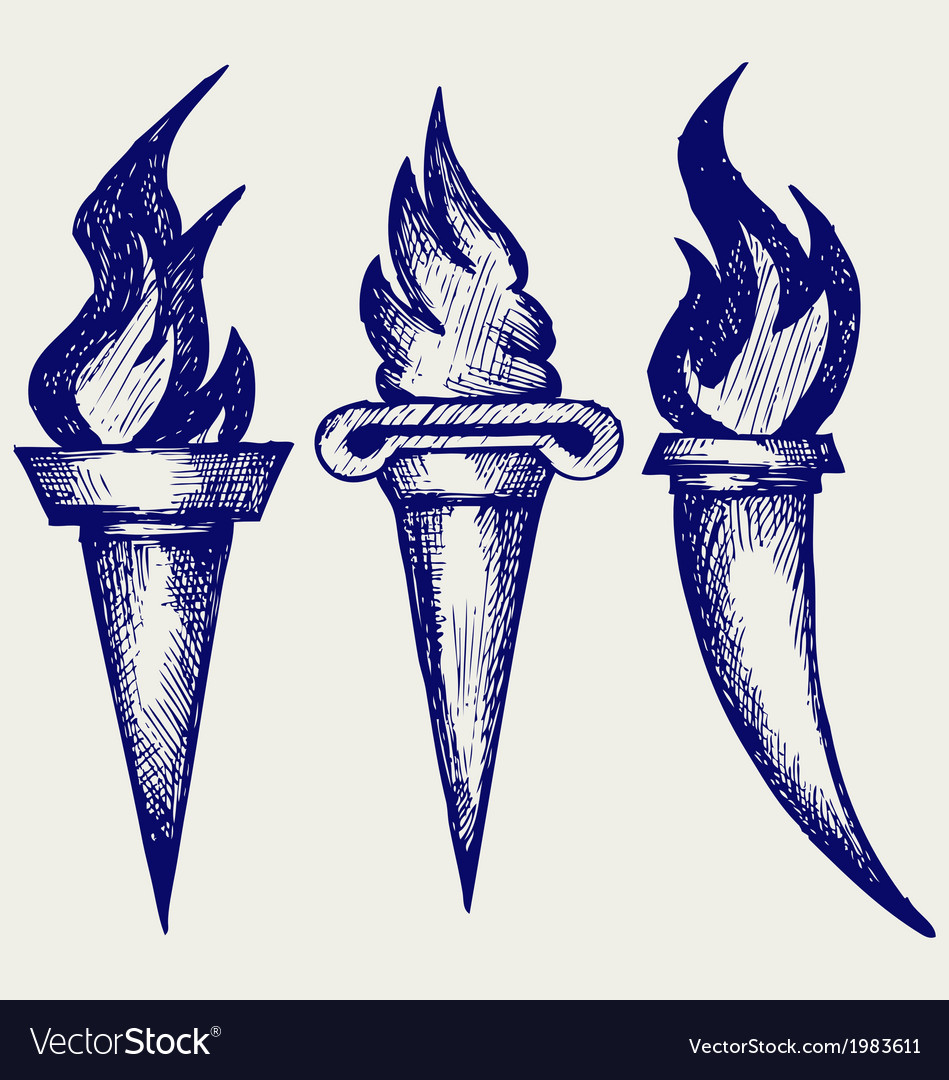 Set of flaming torches vector | Price: 1 Credit (USD $1)