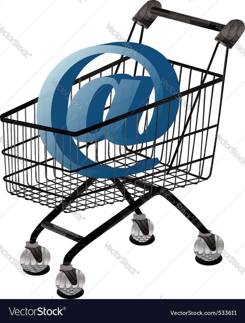 Shopping cart with email vector | Price: 1 Credit (USD $1)