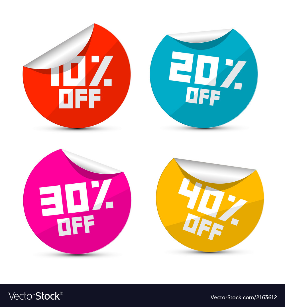 10 off 20 off 30 off 40 off stickers labels vector | Price: 1 Credit (USD $1)