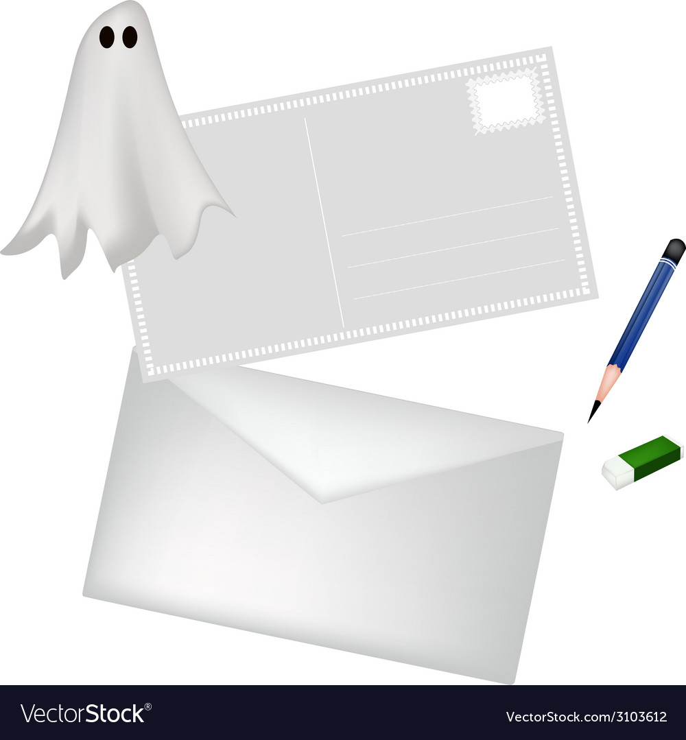 A pencil and envelope with halloween ghost vector | Price: 1 Credit (USD $1)