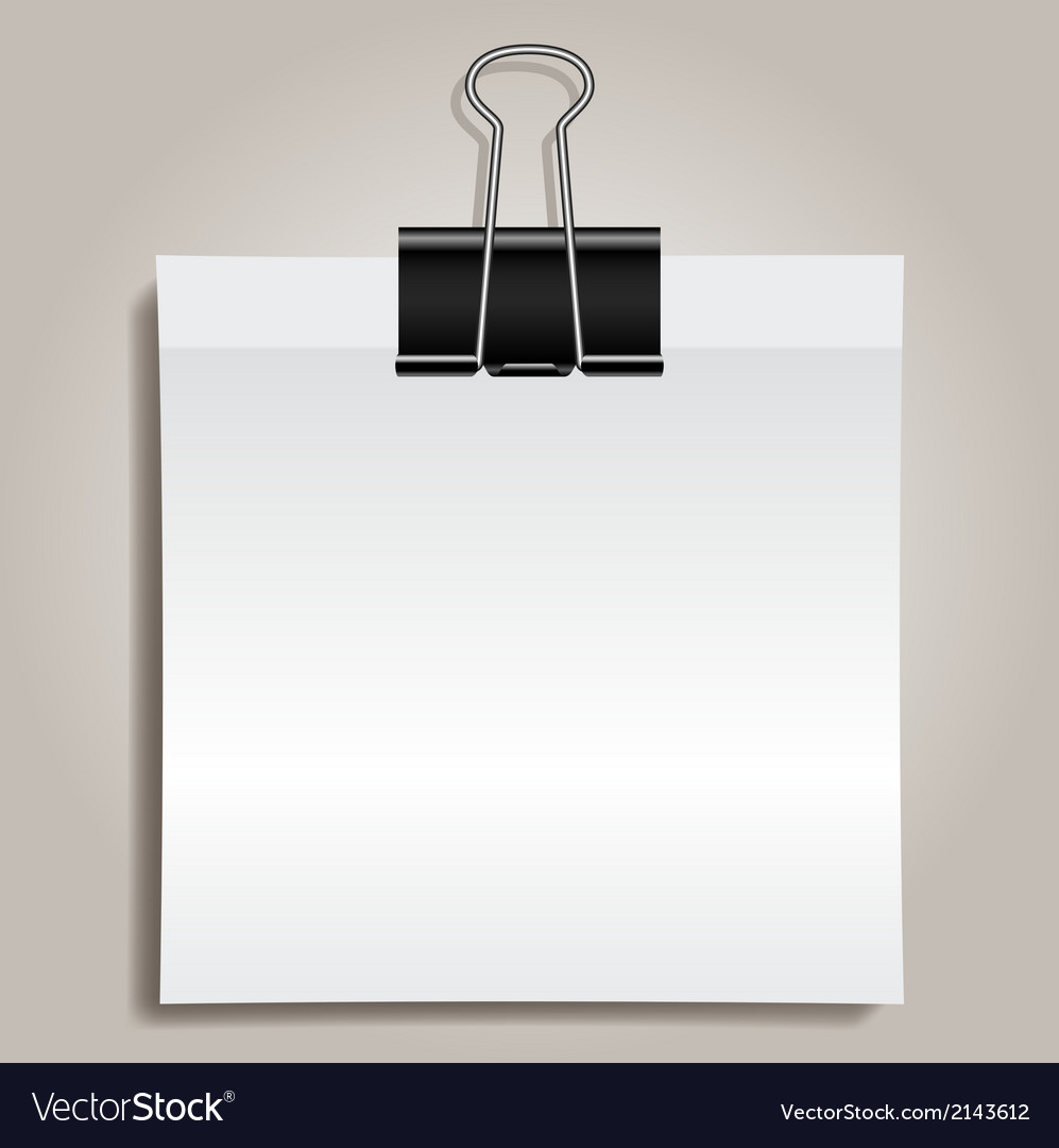 Binder clip and paper vector | Price: 1 Credit (USD $1)