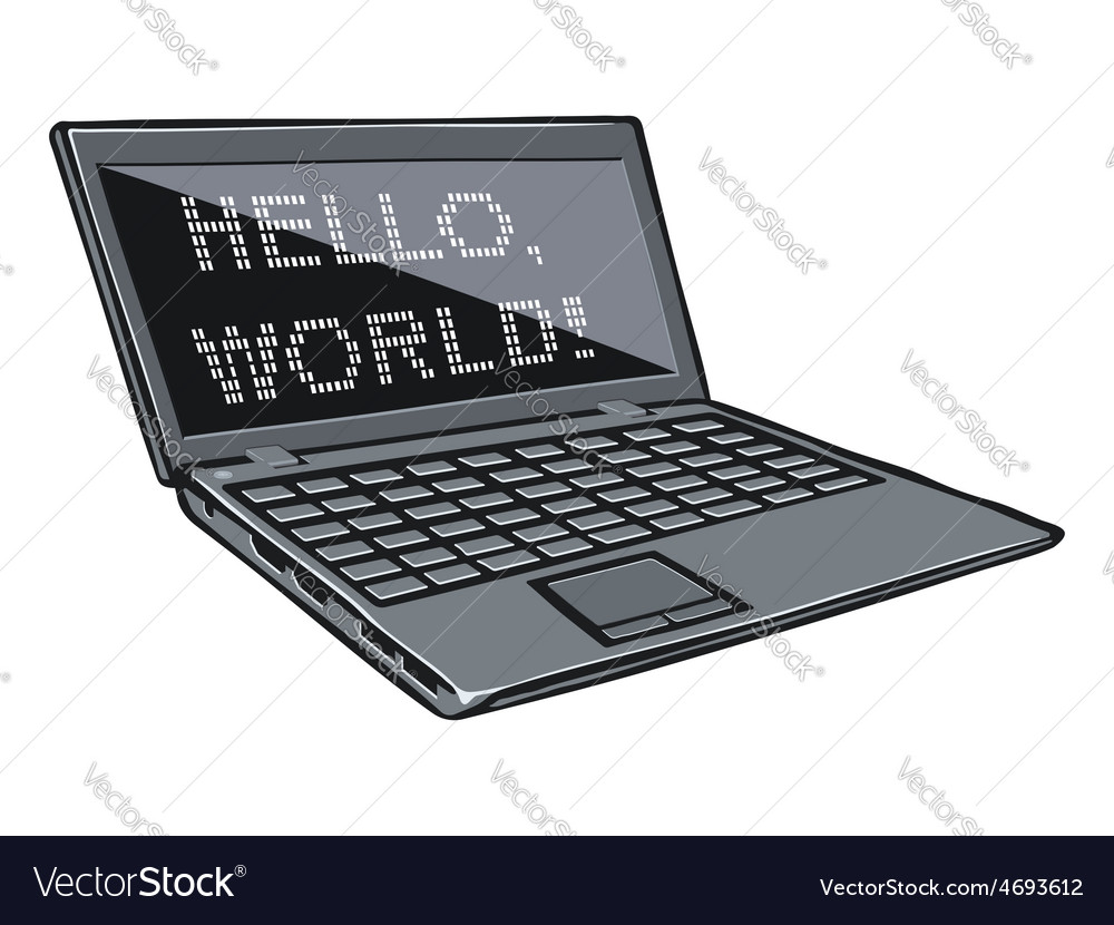 Cartoon laptop with text on its screen vector | Price: 1 Credit (USD $1)