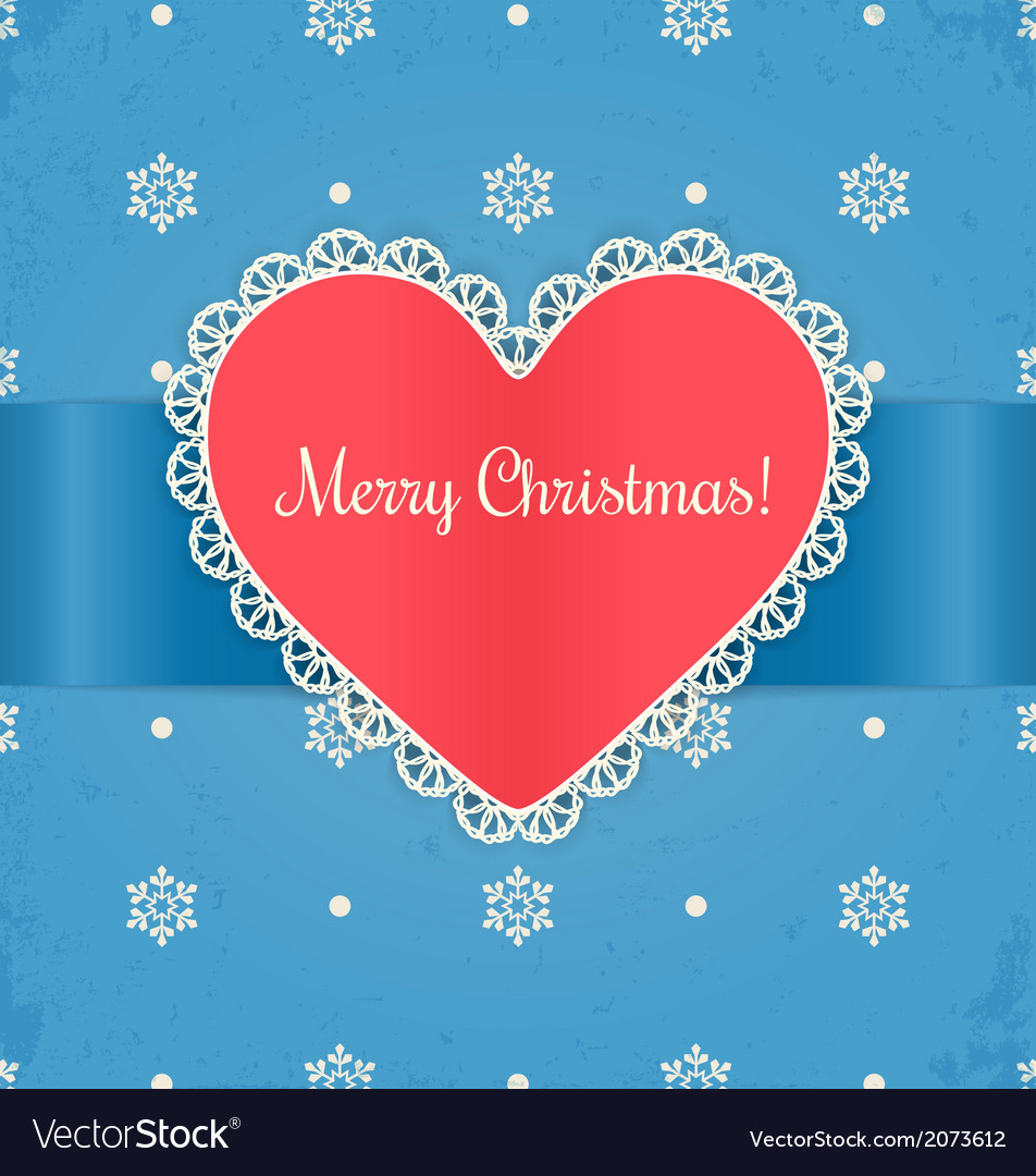 Christmas card with heart vector | Price: 1 Credit (USD $1)