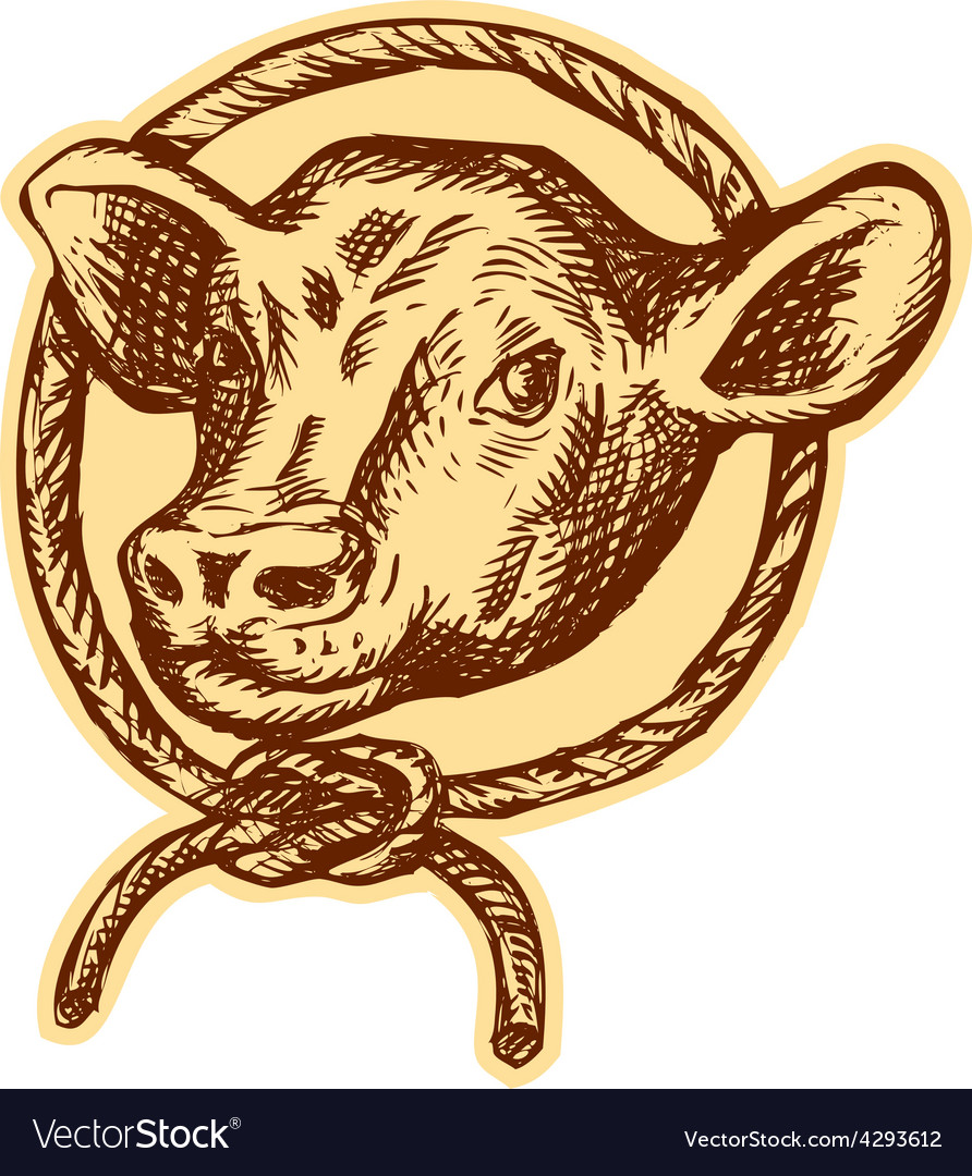 Cow bull head rope circle etching vector | Price: 1 Credit (USD $1)