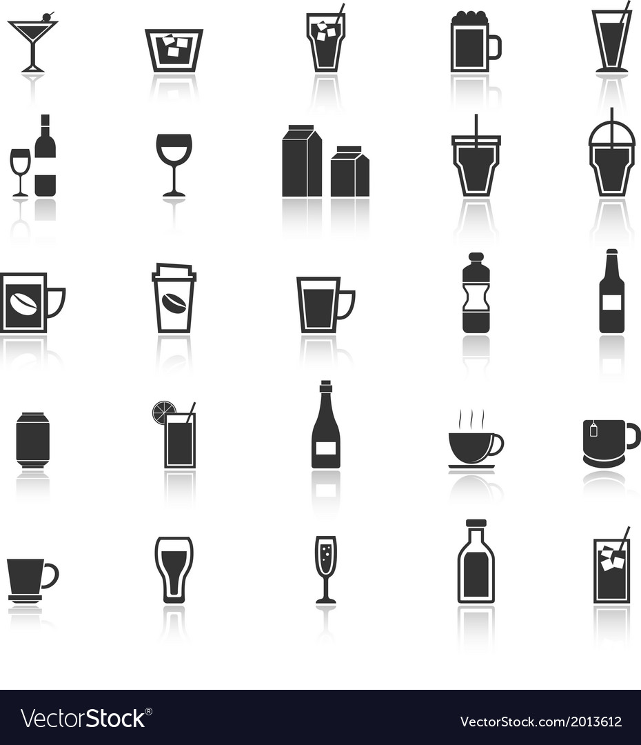 Drink icons with reflect on white background vector | Price: 1 Credit (USD $1)