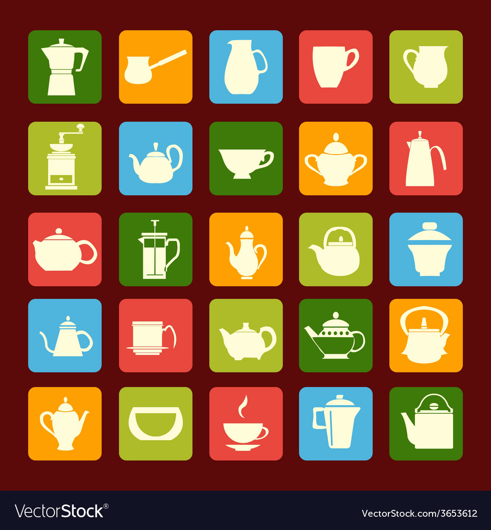 Flat coffee tea set coffee and tea time vector | Price: 1 Credit (USD $1)