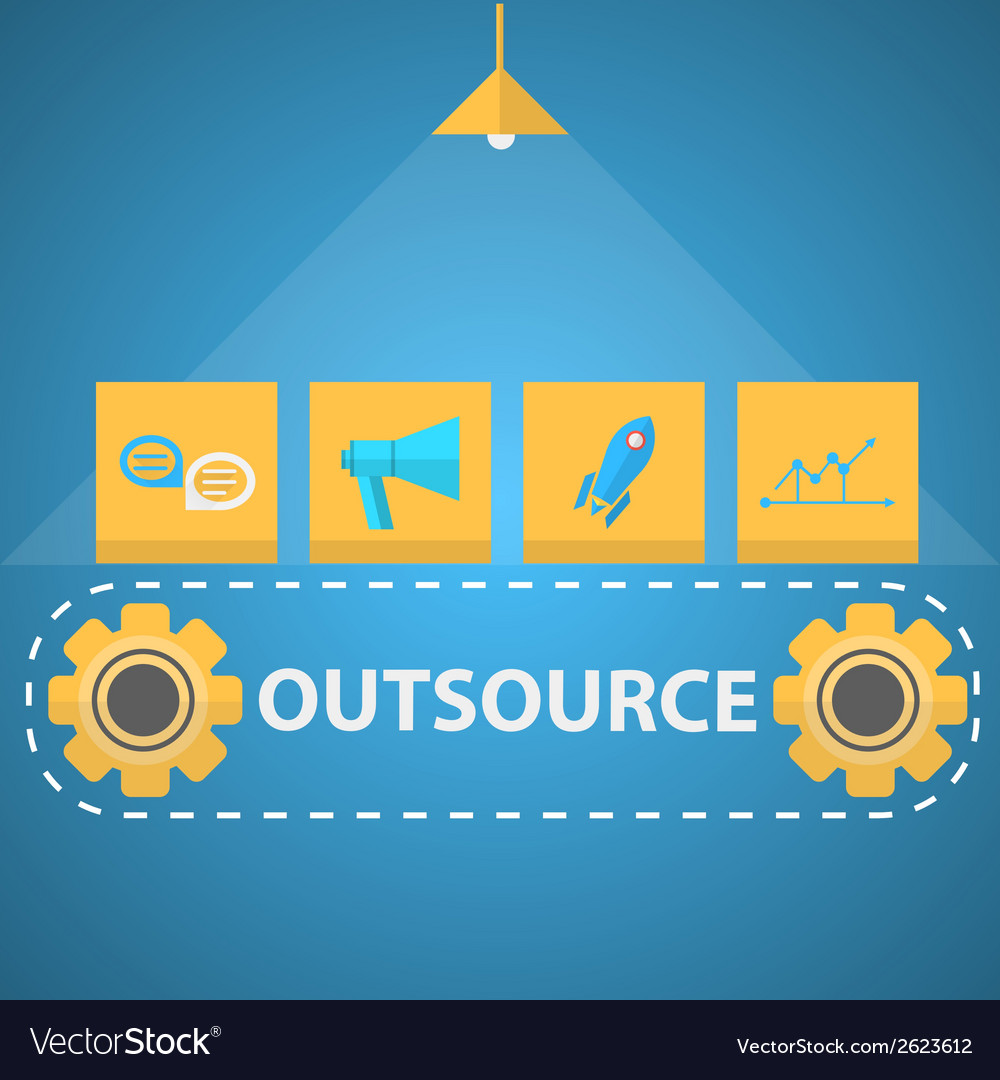 Flat of outsourced mechanism vector | Price: 1 Credit (USD $1)