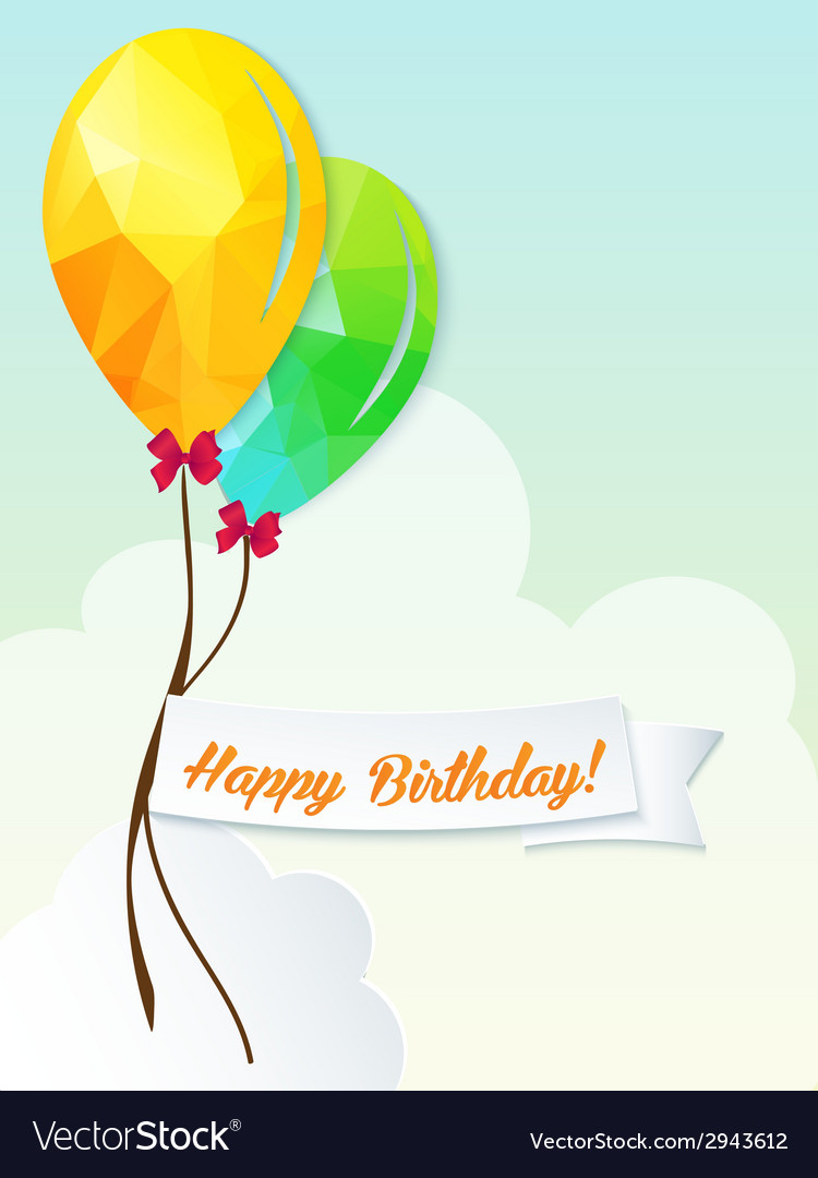 Happy birthday with balloons triangle and ribbon vector | Price: 1 Credit (USD $1)