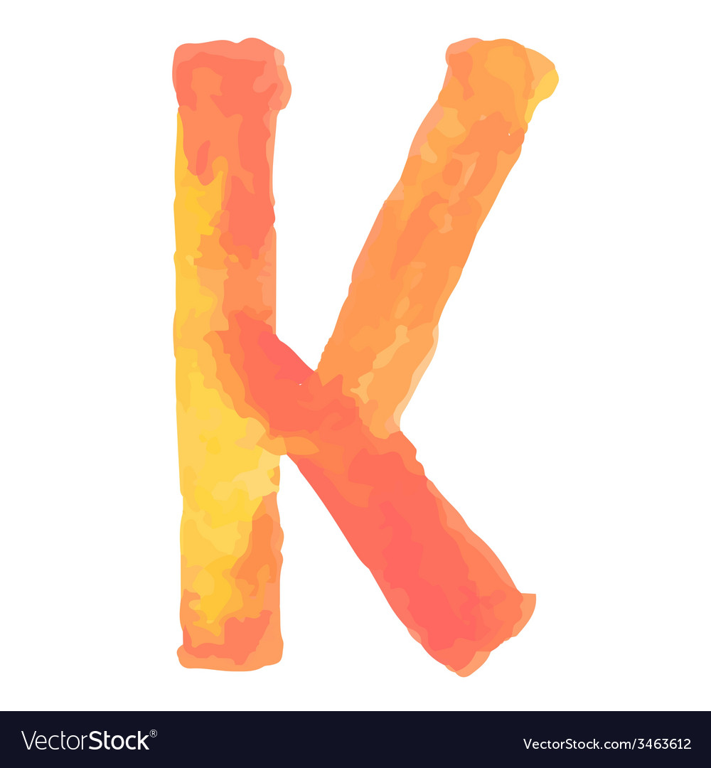 Letter k colorful watercolor aquarelle font type vector | Price: 1 Credit (USD $1)