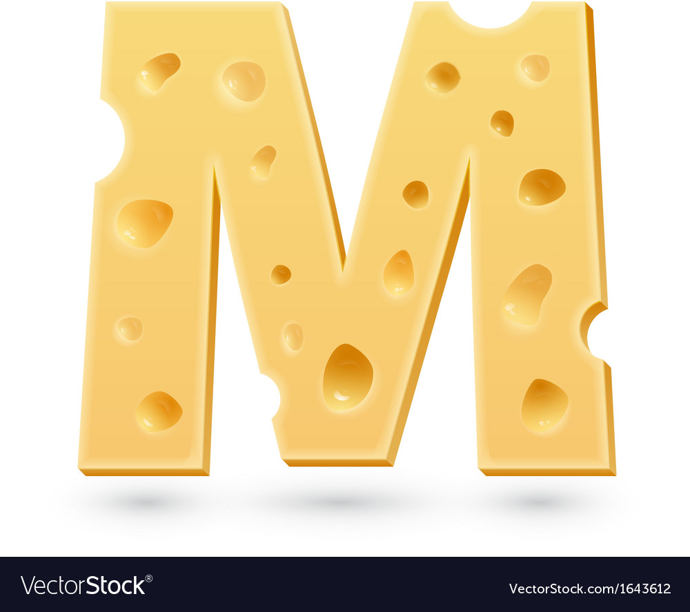 M cheese letter symbol isolated on white vector | Price: 1 Credit (USD $1)