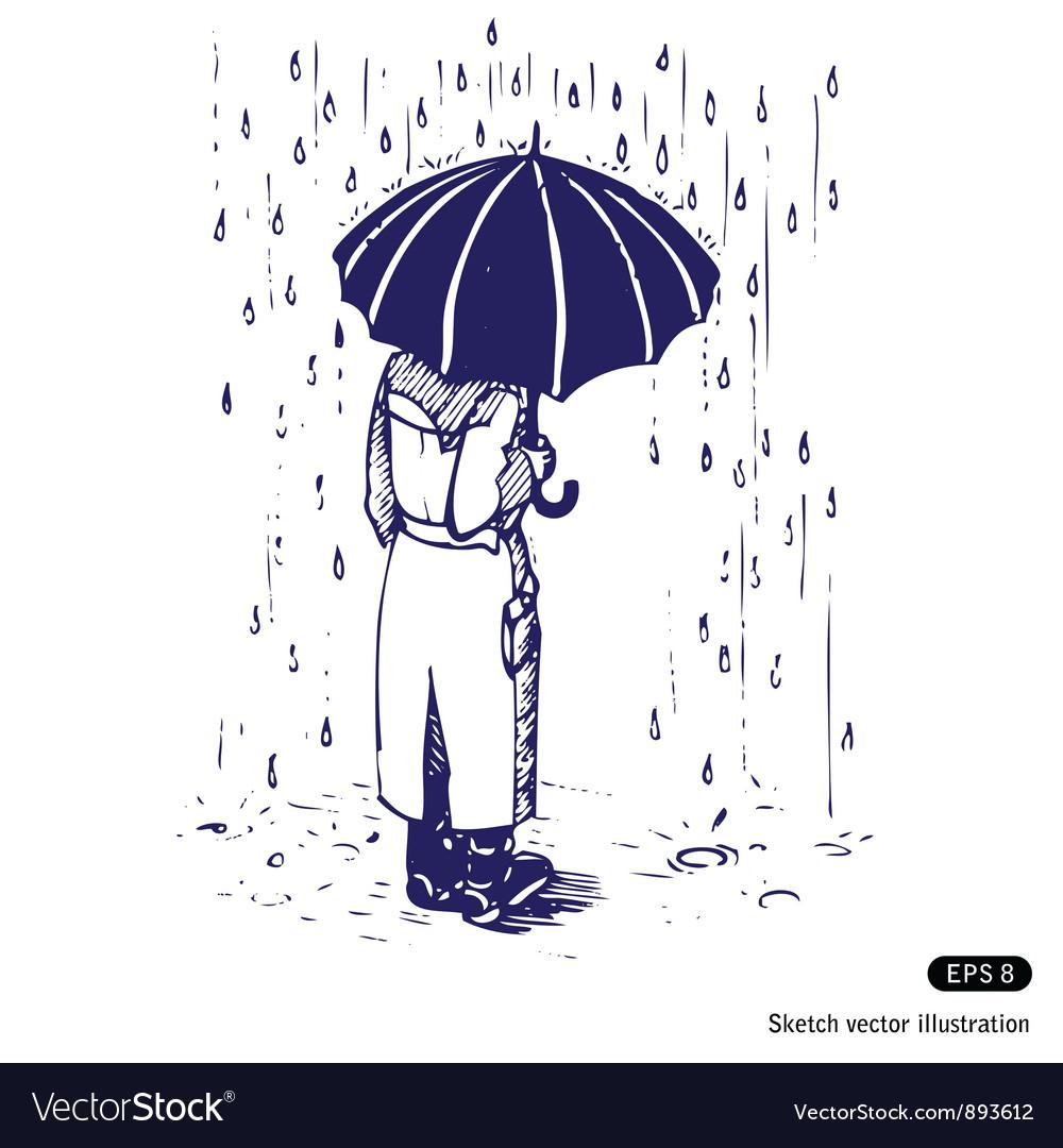 Man with umbrella vector | Price: 1 Credit (USD $1)