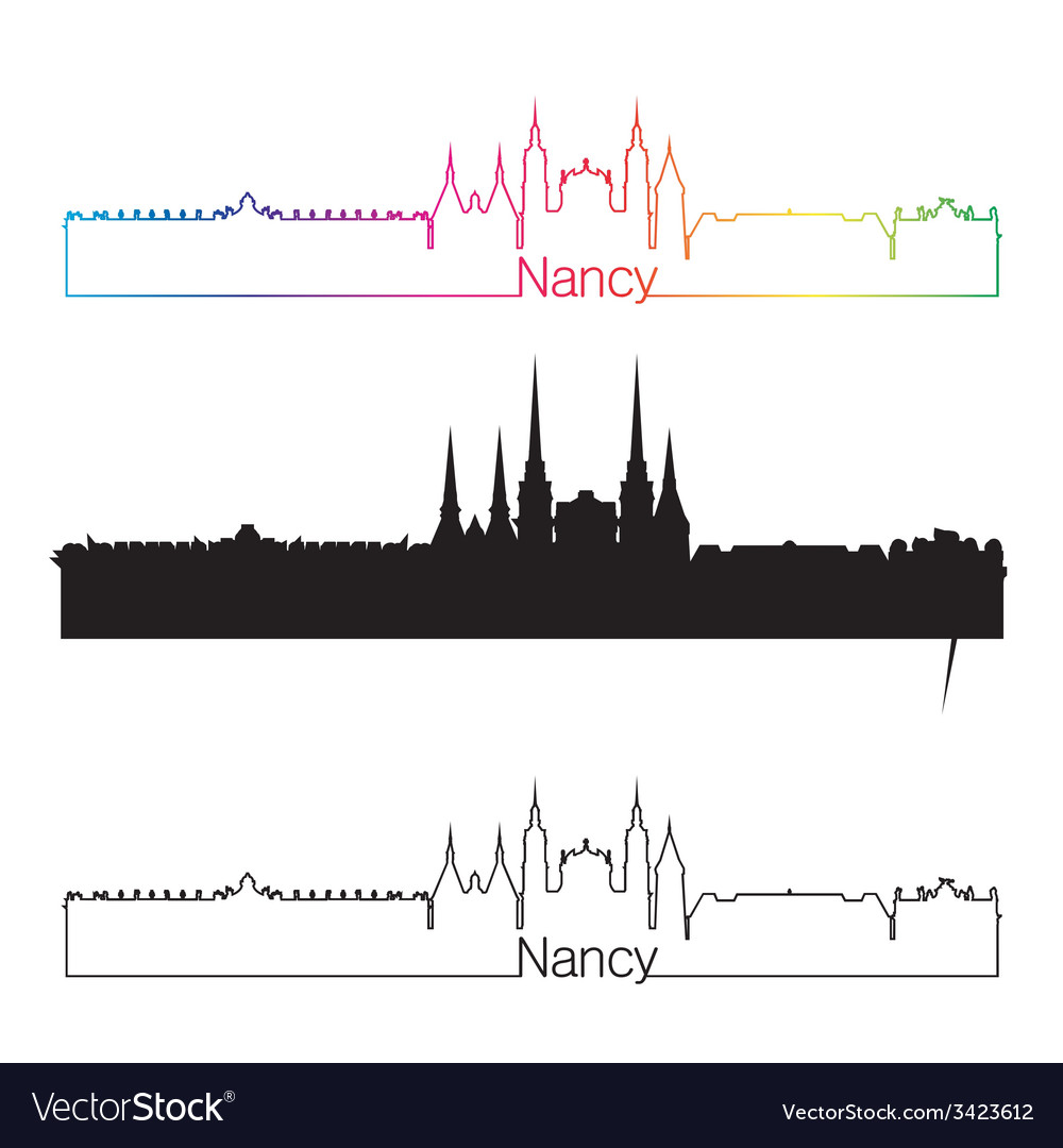 Nancy skyline linear style with rainbow vector | Price: 1 Credit (USD $1)