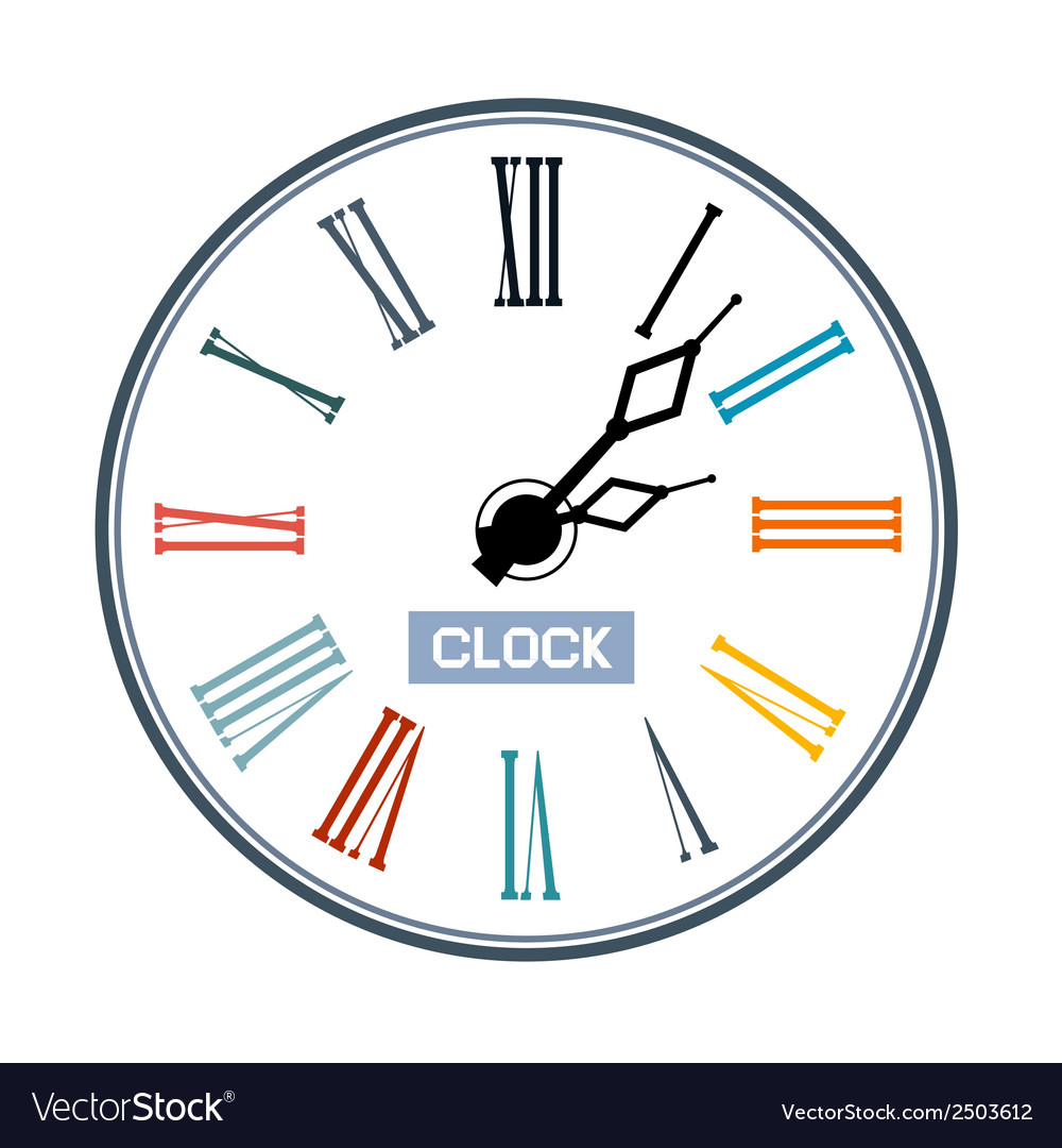 Retro abstract clock face vector | Price: 1 Credit (USD $1)