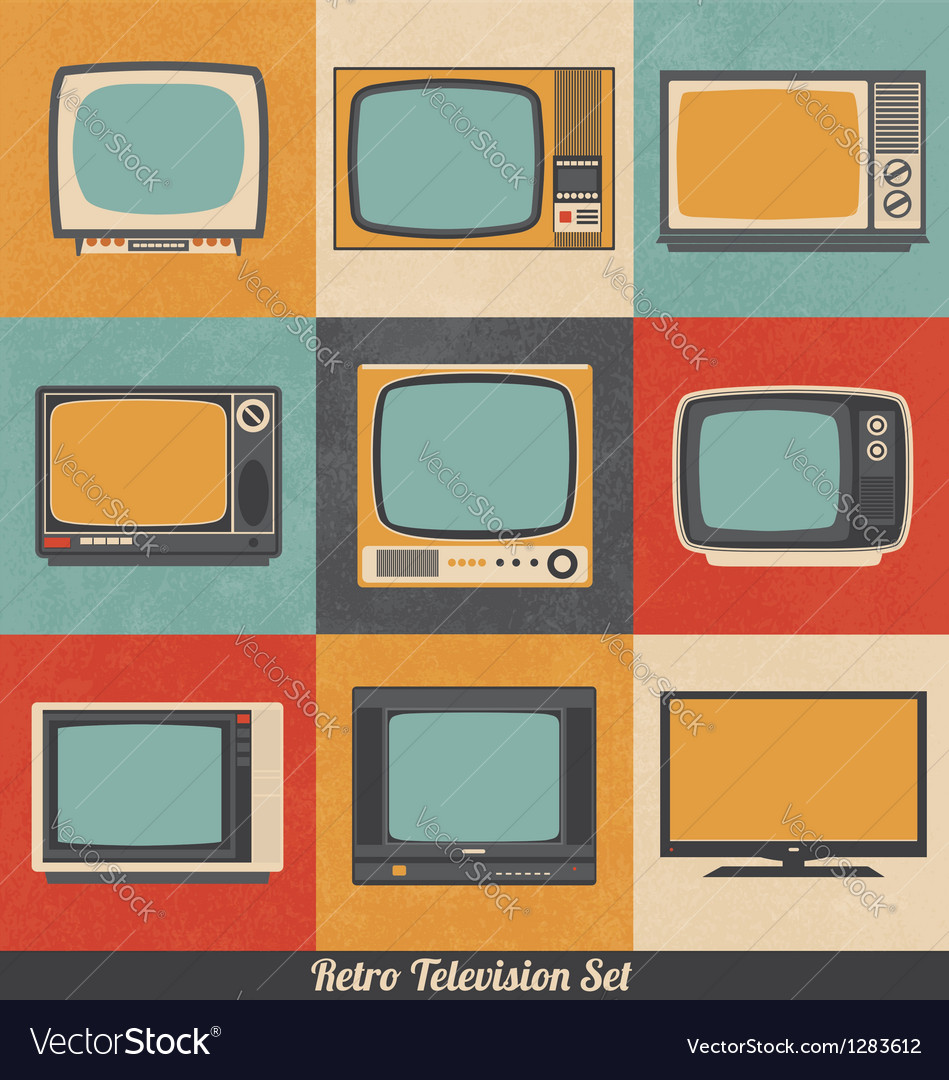 Retro television icons vector | Price: 1 Credit (USD $1)