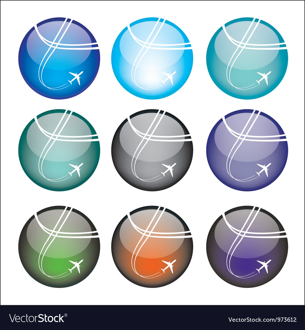 Set of airplane sphere icons vector | Price: 1 Credit (USD $1)