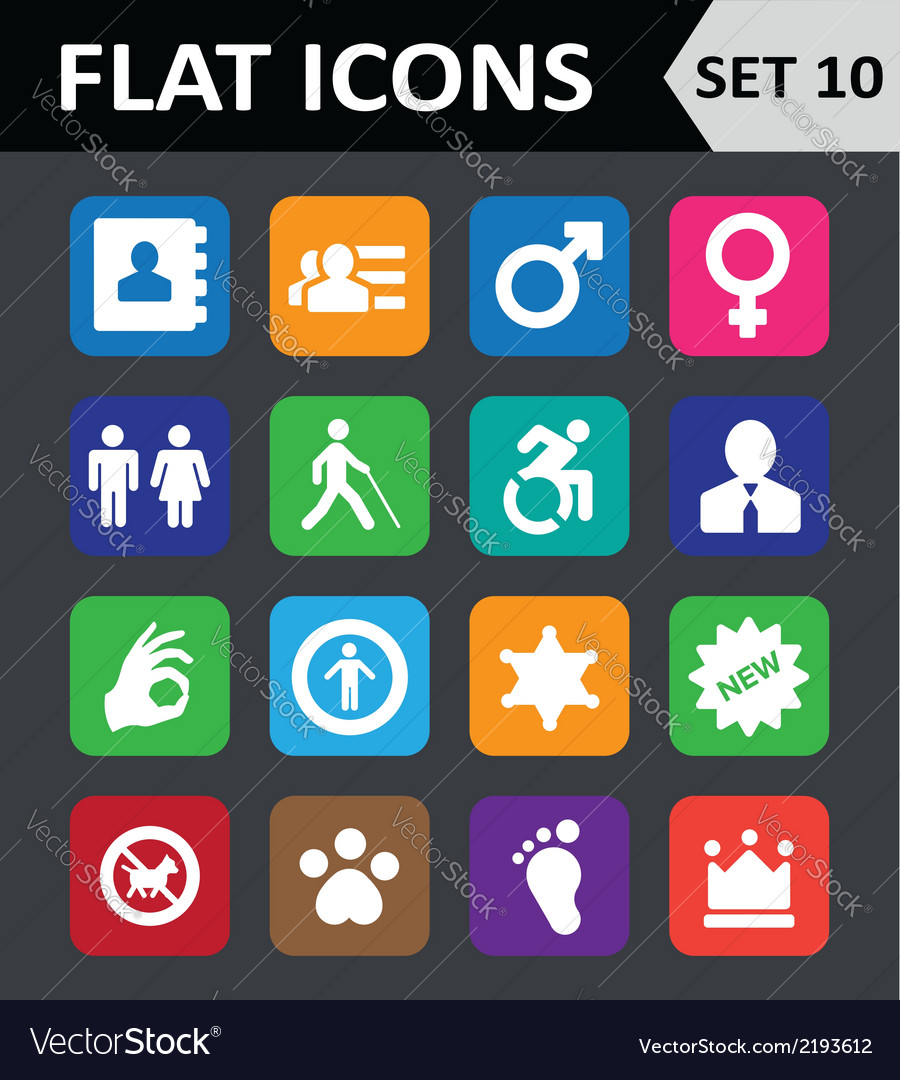 Universal colorful flat icons set 10 vector | Price: 1 Credit (USD $1)