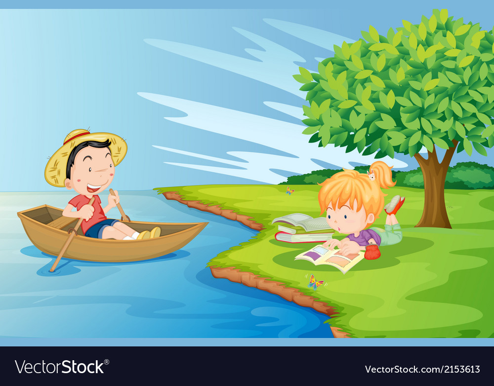 A boat with a boy and a girl studying at the vector | Price: 3 Credit (USD $3)