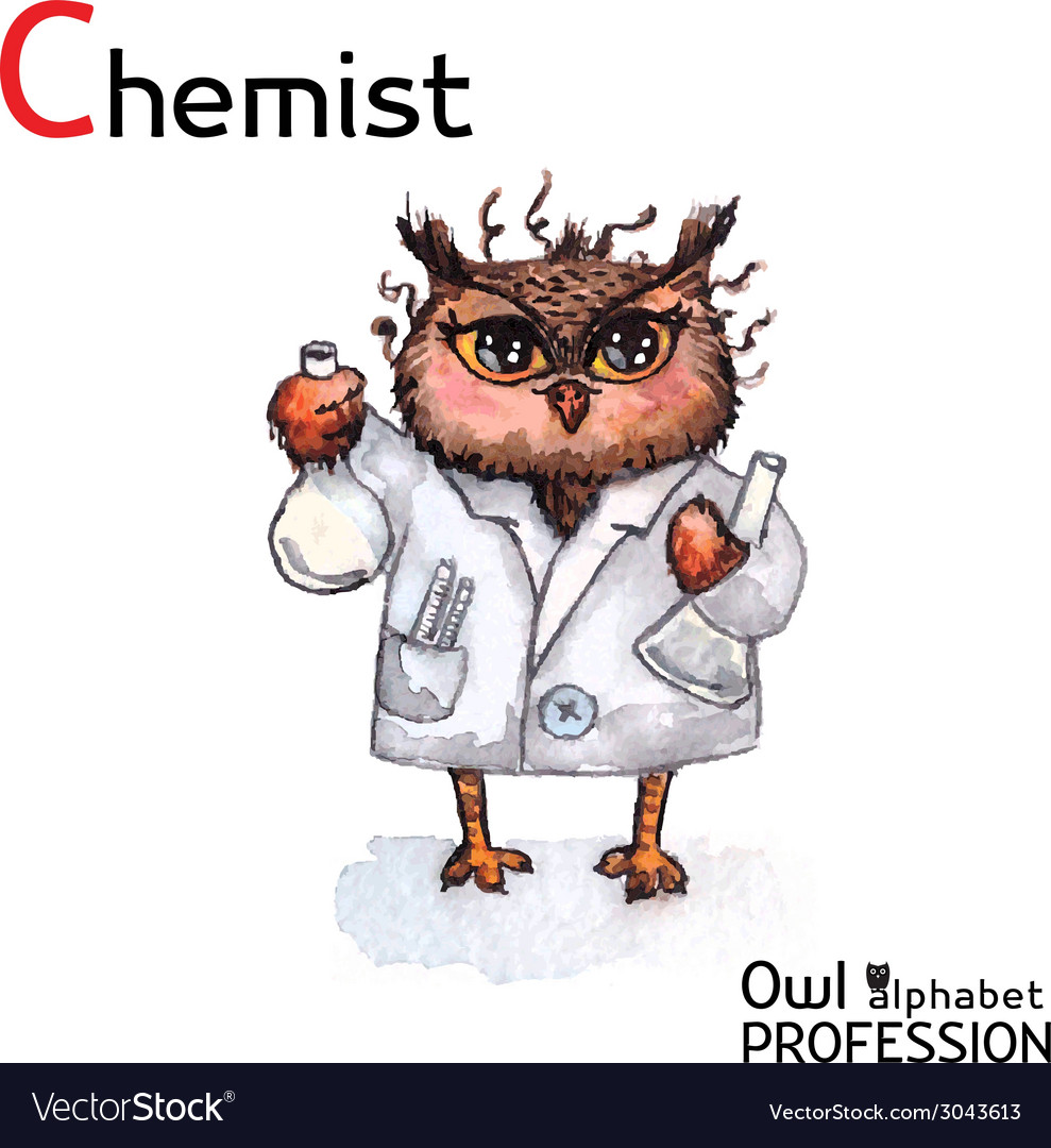 Alphabet professions owl chemist character on a vector | Price: 1 Credit (USD $1)