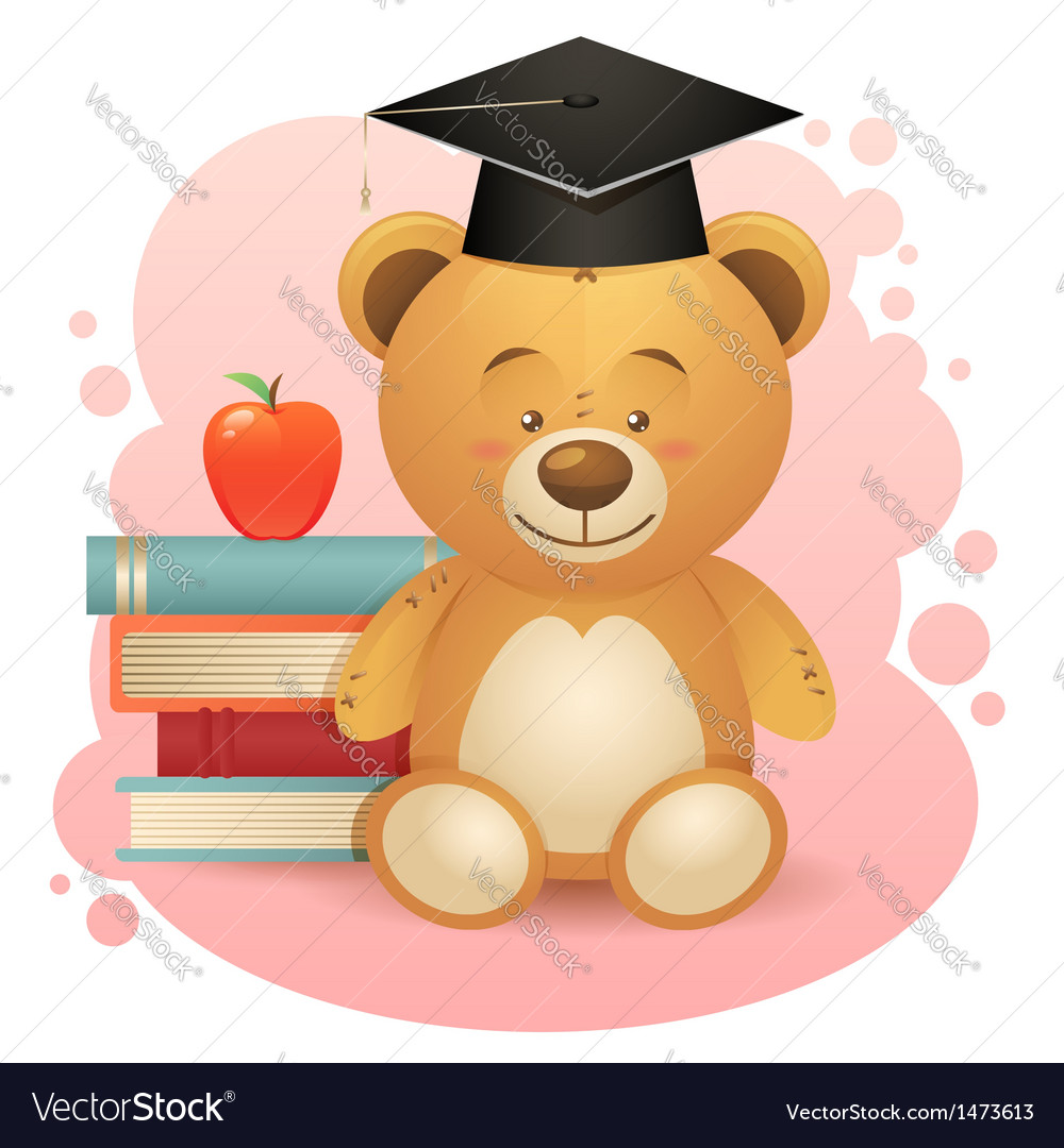 Back to school cute teddy bear toy vector | Price: 1 Credit (USD $1)