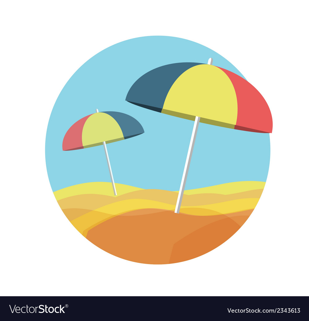 Beach umbrellas on a deserted beach vector | Price: 1 Credit (USD $1)