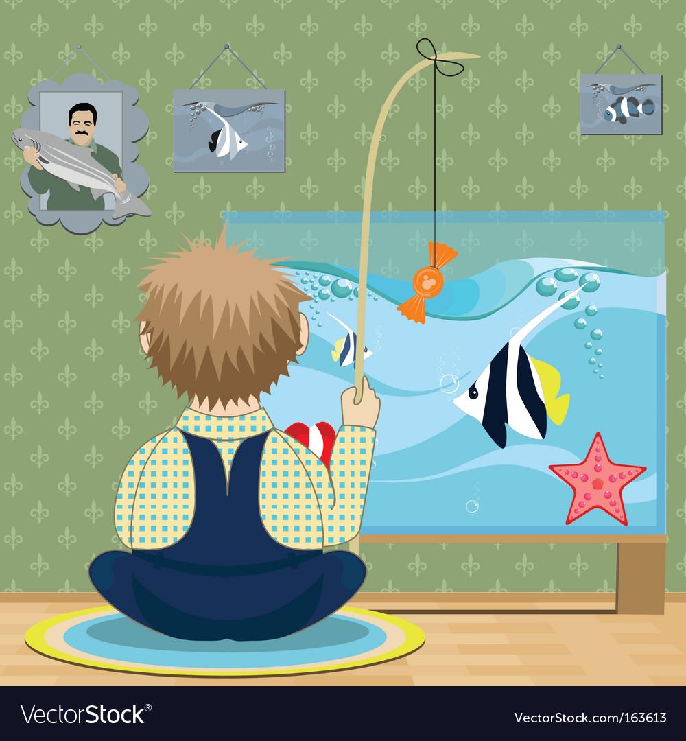 Boy fisherman vector