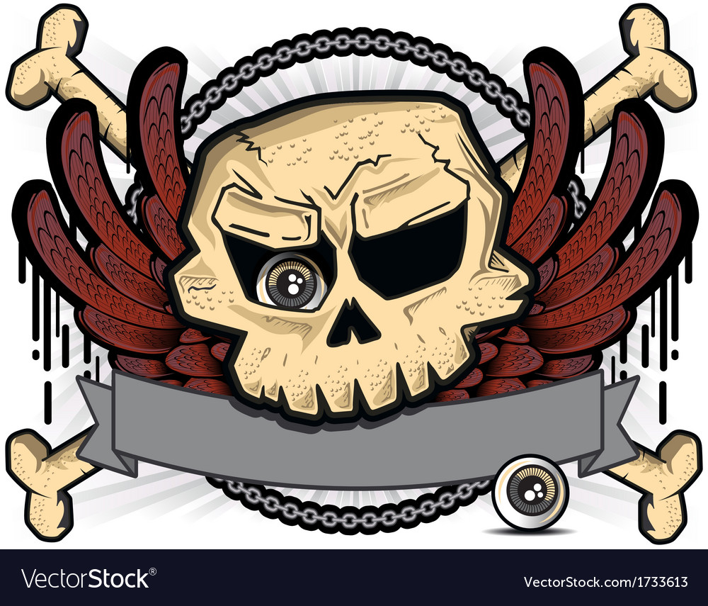 Detailed cartoon skull vector | Price: 3 Credit (USD $3)