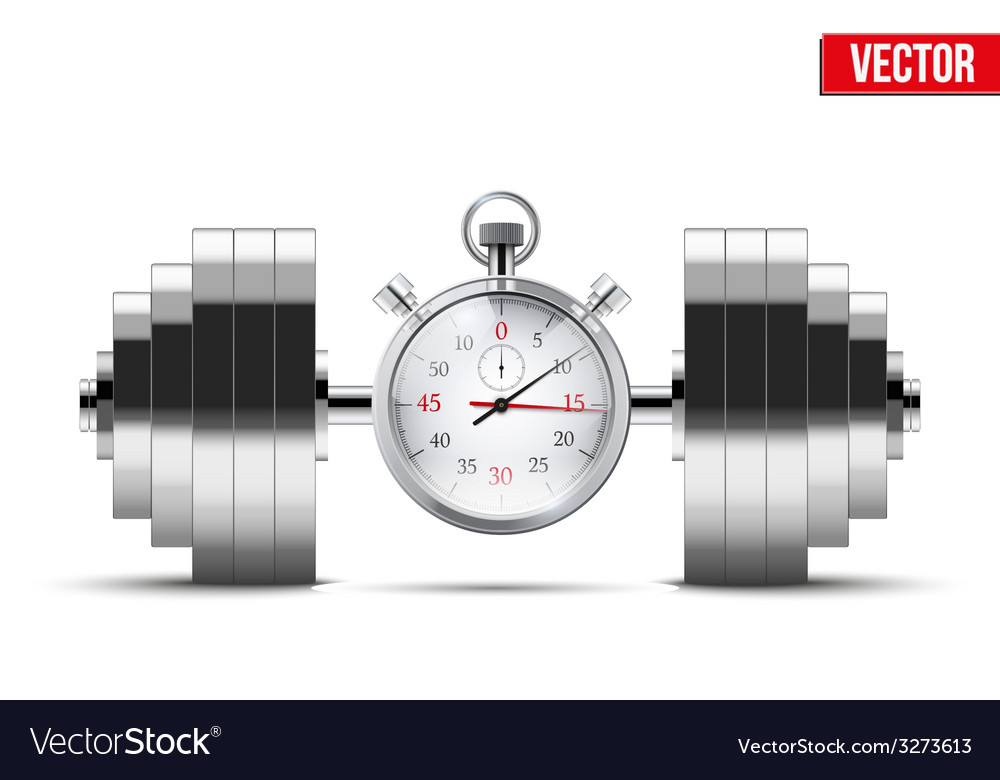 Dumbbell and stopwatch vector | Price: 1 Credit (USD $1)