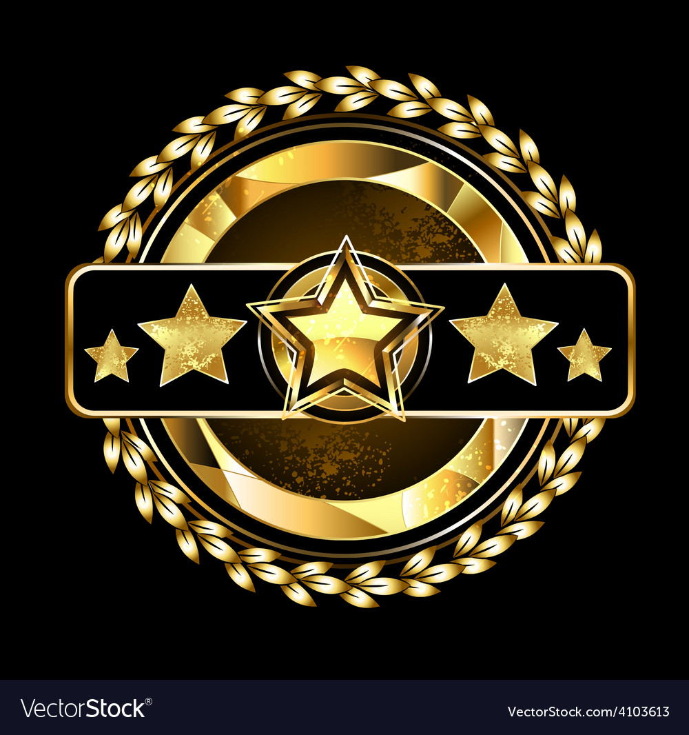 Emblem with golden stars vector | Price: 1 Credit (USD $1)