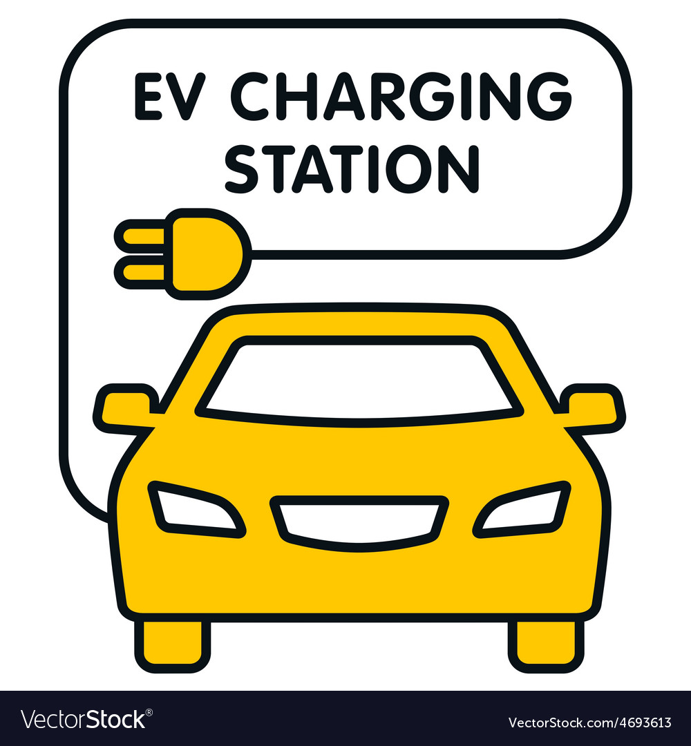 Ev charging station signboard with the yellow car vector | Price: 1 Credit (USD $1)