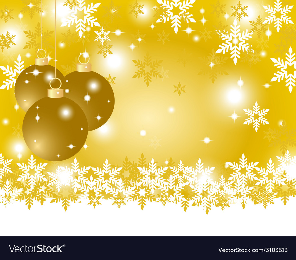 Golden christmas background with christmas balls vector | Price: 1 Credit (USD $1)